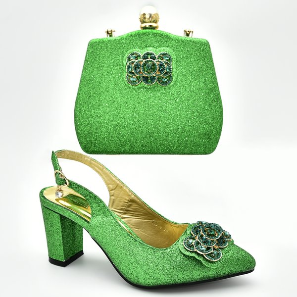 New 2019 Women shoes and matching clutch bag African Wedding High quality Italian Women High Heels shoes with Matching Bags Set