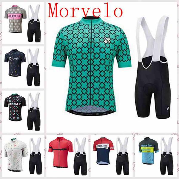 Morvelo team Велоспорт с короткими рукавами трикотажные комбинезоны с короткими рукавами устанавливает летние мужские велосипедные одежды Быстросохнущий велосипед Спортивная одежда Ropa Ciclismo Q62201