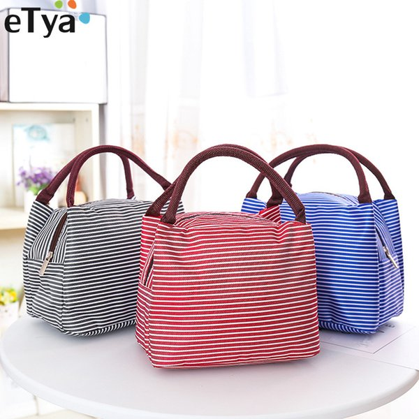 eTya Women Men Kids Insulated Oxford Box Tote Bag Thermal Lunch Bags Cooler Picnic Lunch Bags Kids Handbag