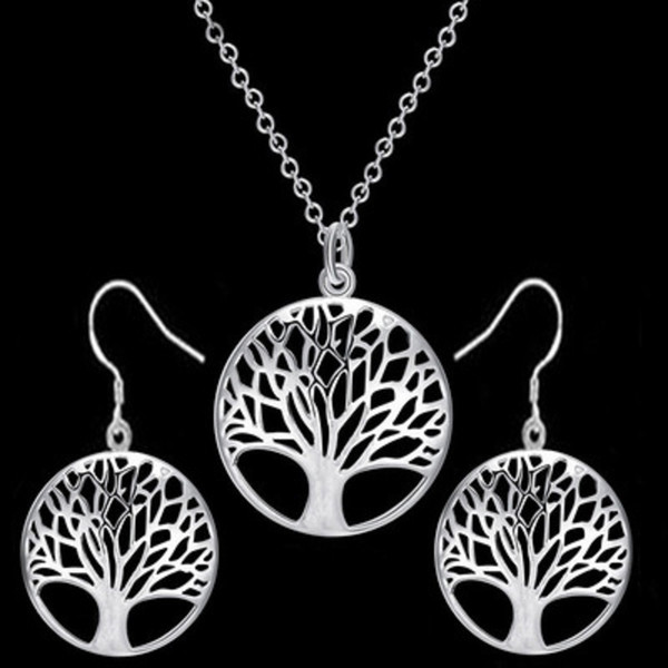The Tree of Life Pendant Necklace Earrings Set Silver Gold Color Trendy Jewelry Sets for Party Women Girls Gift Cheap Wholesale