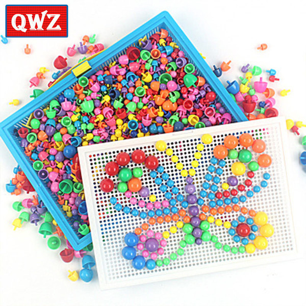 296/592pcs Children Composite Intellectual Educational Mushroom Nail Kit For Kids Gifts Diy Mosaic Picture Puzzle Toys C19041701