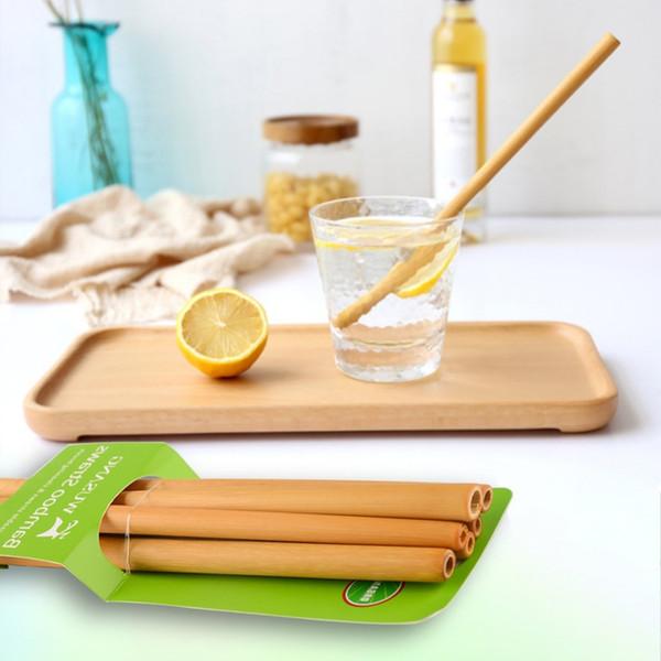 Nuevo 1Pcs Orgánica de bambú de la paja de beber del banquete de boda del cumpleaños de madera biodegradable Pajas ecológico pajitas de beber Vajilla