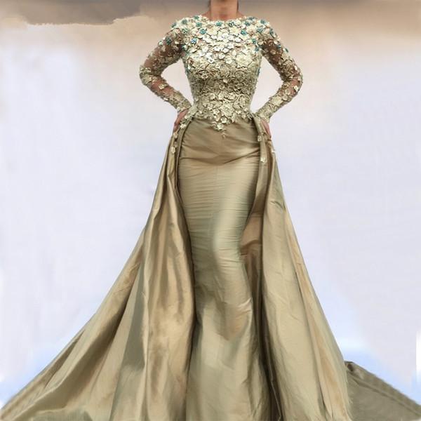Вечерние платья Русалка мусульманка 2019 Длинные рукава из тафты с кружевными цветами Исламская Дубай Саудовская Аравия Длинное вечернее платье Русалка Вечернее платье