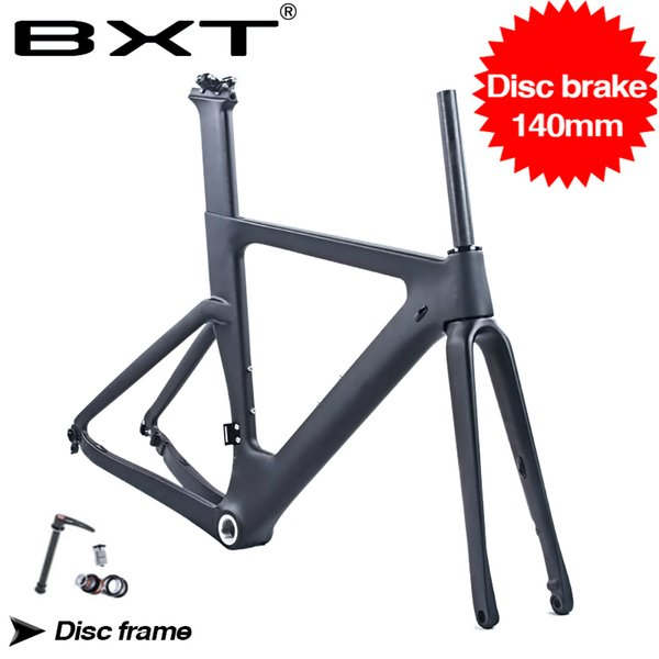 Free shipping carbon road bike frame with Fork 142X12mm 100X12mm thru axle disc brake 1-1/8 to 1-1/2 road bicycle frame BSA