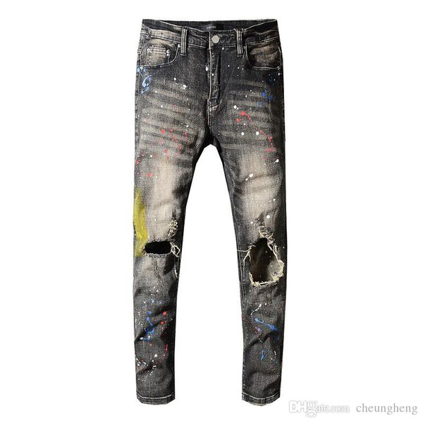 Yaz moda tasarımcısı pantolon erkekler ünlü Amiri kot sokak hip hop kadın Kalem pantolon yüksek qualiry eğilim kırılmış Delik rahat pantolon mens