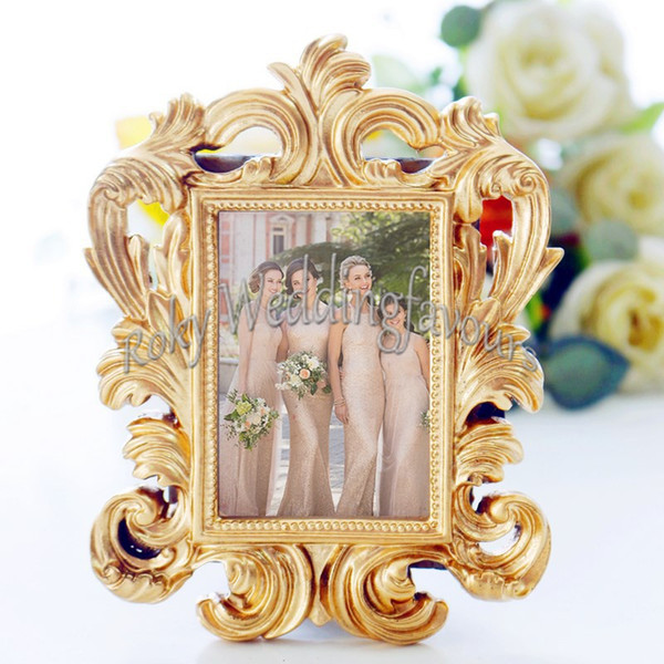 30PCS Gold Baroque Mini Frame Place Card Holder Photo Frame Wedding Favors Bridal Favors Anniversary Table Decors Event Party Supplies