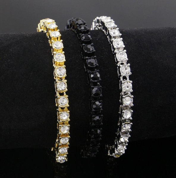 top popular Hip Hop Bracelet Gold Plated Bling Bling 1 Row Iced Out Cz Bracelet Top Fashion Mens Jewelry 2021