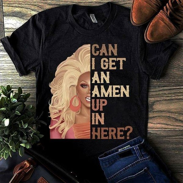 RuPaul's Drag Race Can I Get An Amen Up In Here Vintage Men T-Shirt Black S-6XL Style Round Style tshirt