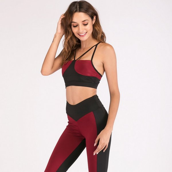 2019 gym Euramerican Yoga Close-fitting Pure-color Stitching Suit Moisture Absorbing and Sweating Yoga Suit for Running Women