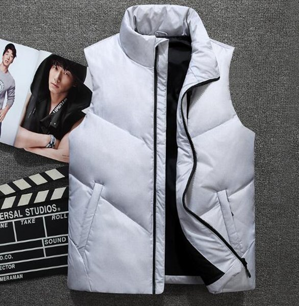 Men's Korean version of the new fashion trend boutique special personality handsome thickened warm collar winter down jacket vest / M-3XL