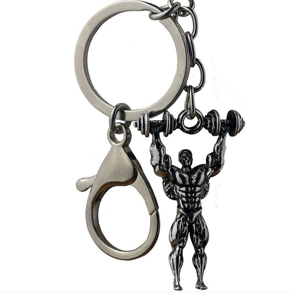 2019 Fashion muscle male dumbbell weightlifting exercise key chain creative man car key chain pendant