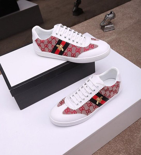 2020 Designer Low Top Snake Tiger Bee Printing Sneakers Casual Shoes Fashion Luxury loafers Trainers Driving Shoes for Mens