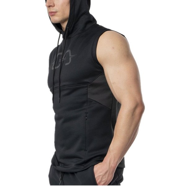 Men Sleeveless Hoodie Casual Zipper Pocket Patchwork Cotton Hoodies are Hot sellers for The Latest Fall 2019 Fashion Trend