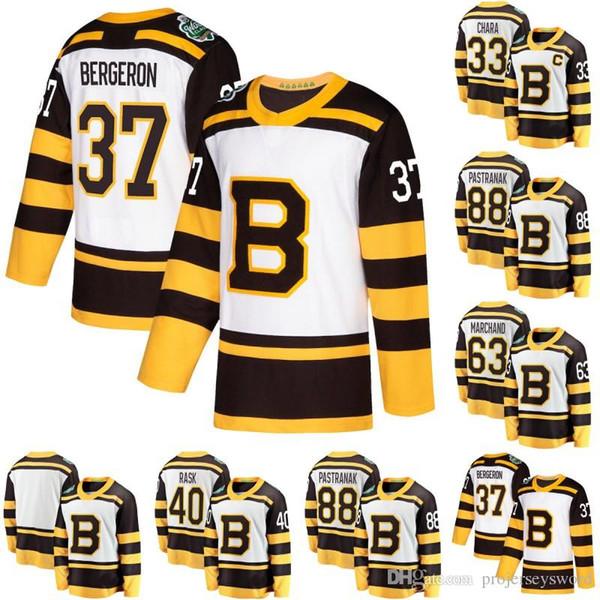 2019 Winter Classic Trikot Boston Bruins 88 David Pastrnak 40 Tuukka Rask 33 Zdeno Chara 43 Danton Heinen 63 Brad Marchand Hockey Trikots