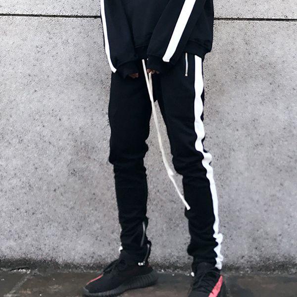 2018 Bahar Justin Bieber Sweatpants Erkekler Batı Retro Hip Hop Pantolon Yan Fermuar Hit Renk Unisex Moda
