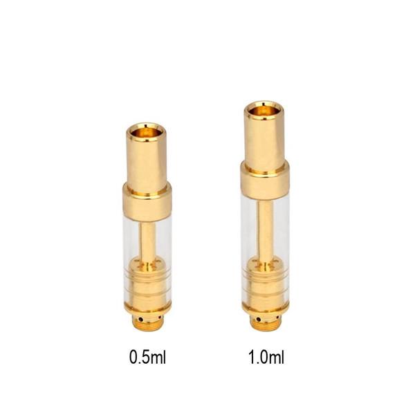 Vape cartucho descartável Vape caneta tanque de vidro 0.5 ml 1.0 ml óleo-entrada buracos ajustável E cigarro A10 vaporizador com ponta de gotejamento dourado
