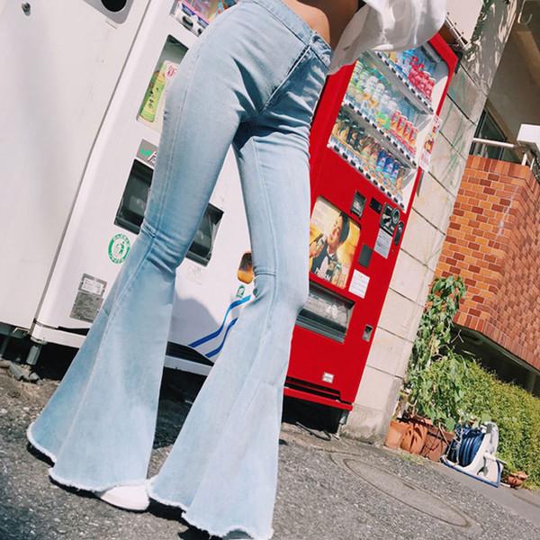 Seksi Katı Flare Bacak Geniş Bacak Denim Jeans Moda Ofis Lady Yüksek Bel Flared Pantolon BuLift Tam Boy Flare Pantolon