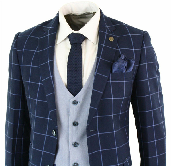 Mens Blue Navy 3 Piece Marc Darcy Suit Check Tailored Fit Complete Wedding Tuxedos Custom Made Mens Prom Dress