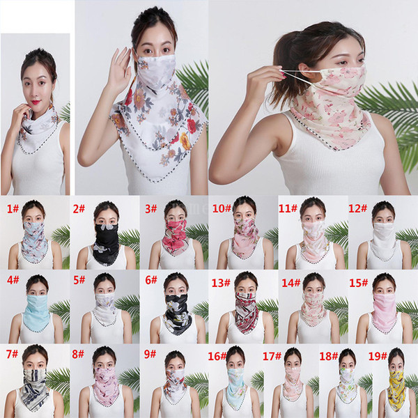 best selling Women Scarf Face Mask Chiffon Handkerchief Windproof Half Face Dust-proof Sunshade Masks Dust Mask Party masks DA579