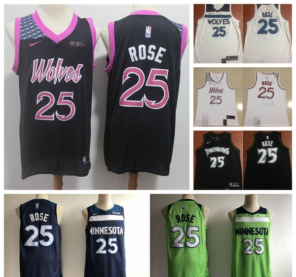 promo code 70ae4 d2fa7 2019 New City Jerseys 25 Rose Timberwolves Basketball Jerseys Stitched  White Blue Black Timberwolves Rose Basketball Shorts Party Shirts Awesome  ...