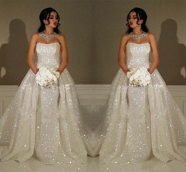 Sparkly Arabic White Sequined Mermaid Wedding Dresses With Detachable Overskirts Train Sexy Strapless Engagement Dress Garden Bridal Gowns