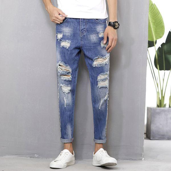 Yeni erkek kot rahat rahat yan renk moda kırık bacaklı pamuklu pantolon