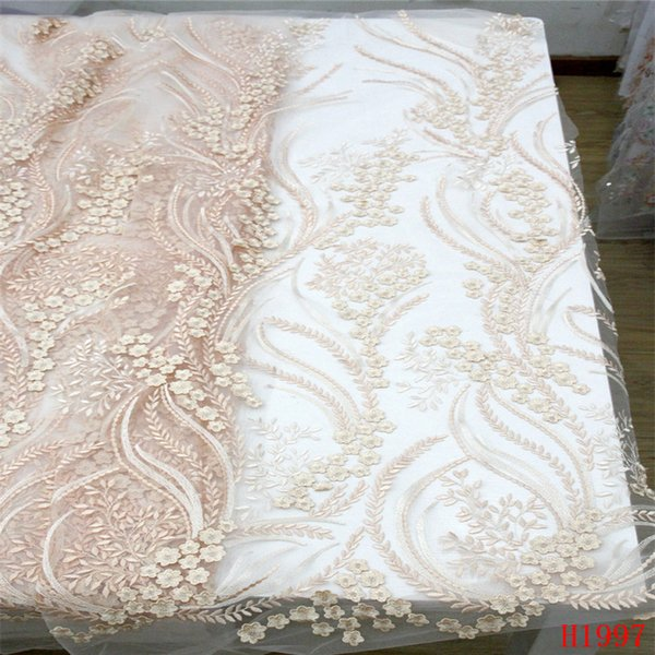 African Lace Embroidered Indian 5 Yards Net Lace High Quality Peach/Gold Nigeria African Lace Fabrics for Bridal Dress X1997