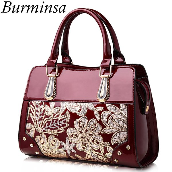 Burminsa Glitter Flower Women Patent Leather Handbags Female Shoulder Bags Ladies Lacquered Diamond Purse Wedding Messenger Bags