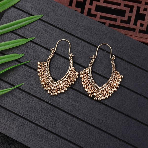 Vente chaude femmes vintage boucles d'oreilles Antique Ethnic Silver Drop Earrings Pour Femmes pendentif pour les femmes bijoux de fête