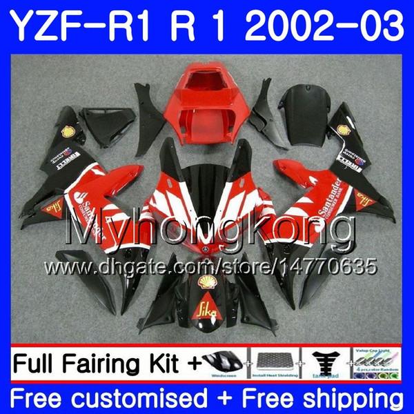 Bodys For YAMAHA YZF-1000 YZF R 1 YZF R1 2002 2003 Santander red hot Bodywork 237HM.28 YZF 1000 YZF-R1 02 YZF1000 Frame YZFR1 02 03 Fairing