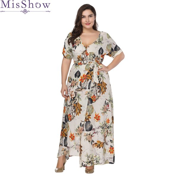 Women Long Maxi Dress Plus Size 6xl 7xl 2019 Summer Floral Print Boho Style Beach Dress Casual Short Sleeve Party Dress Vestidos Y190507