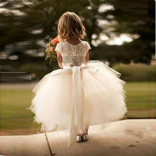 Hot Sale White Lace and Tulle Flower Girl Dress Short Sleeve Sash Layed Tutu Skirt Kids Formal Wear Dresses Custom Made