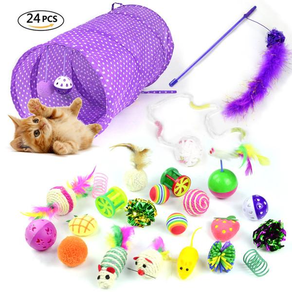 gato de juguete juguete de 24Pcs / Set Kit para mascotas plegable túnel gato de Bell de la pluma de ratones Forma gatito del perro casero interactivos de juego Suministros
