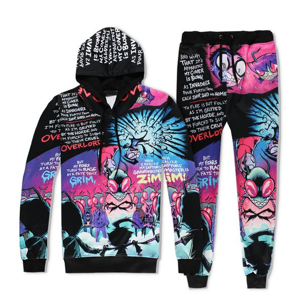 Vêtements pour hommes Survêtements Hauts Pantalons Impression 3D de Bande Dessinée Sweat à Capuche Ensembles 2Pcs Survêtement Survêtement Sportwear Casual