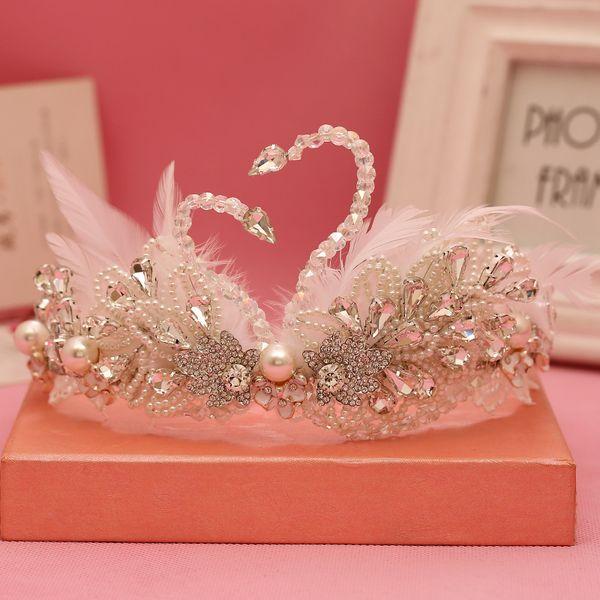 bridal crown New Feather Swan Crown Bridal Wedding Hair Accessories Handmade Pearl Tiara Beauty Brown Baroque Handmade Party Crowns