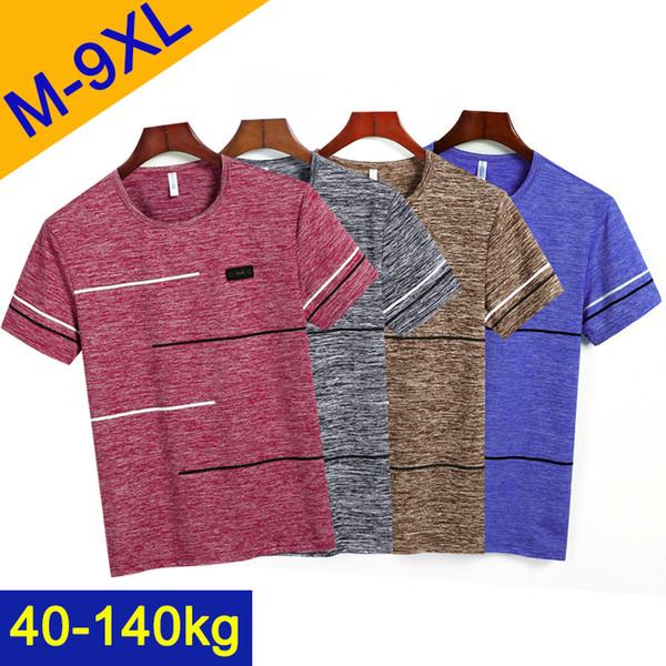 Uyeemu Free Ship T-shirt Homme Été À Manches Courtes Mâle T-shirts Rayé O-Cou Grand Plus La Taille 9XL 8XL 7XL 6XL 5XL Top Tee Shirts