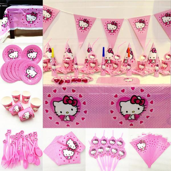 Tavolino Hello Kitty.2019 Hello Kitty Party Decoration Kid Birthday Party Supplies Cartooon Theme Disposable Tableware Hellokitty Festival Favors Boy Girl From Anzhuhua