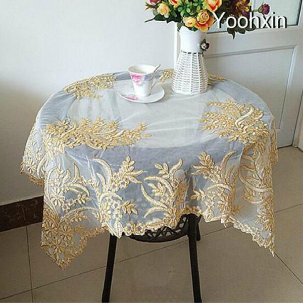 Modern Fine Square Lace Tablecloth Nappe Kitchen Placemat Embroidery Table Cover Cloth Mantel Christmas Xmas Wedding Decor
