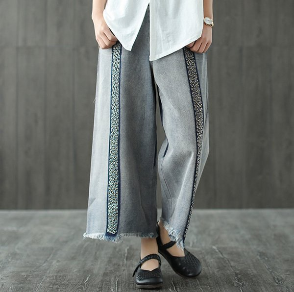 Bleached Summer Jeans Women Loose Painted Sanding Ripped Sequined Female Wild Denim Ankle-Length Wide Leg Pants Retro Fashion