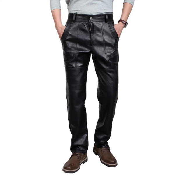 Autumn Winter Male Plus Size Straight Genuine Leather Pants Men's Thickening Motorcycle Pants Loose Windproof Leather