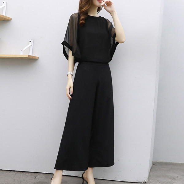 Summer Casual Two Pieces Set Women Loose Half Sleeve O-Neck T-Shirt Top With Elastic Waist Wide Leg Pants Fashion Women Suit