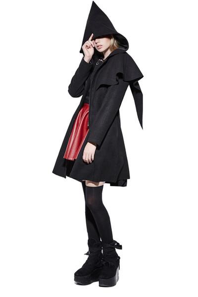 Steampunk Women's Winter Minimalist Joker Elves Cloak Cloth Coat Long Woolen Coat Slim Fit Show Thin Jackets Even Cap