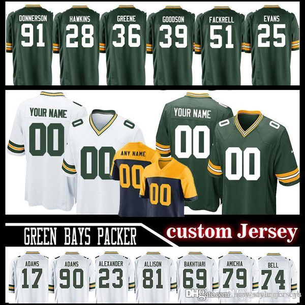 wholesale dealer 7f5d1 5ec04 2019 Customized 33 Aaron Jones Green Bays Aaron Rodgers Packer Jerseys Men  92 Re0 Mason Crosby Jersey Allison Geronimo 96 Muhammad Wilkerson From ...