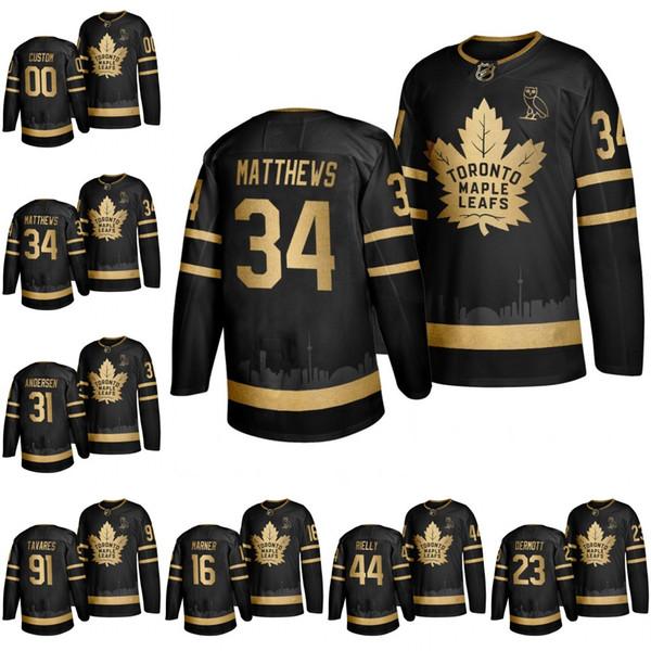 2019 cu tom toronto maple leaf matthew tavare rielly marner nylander ander en black golden edition ovo branded hockey jer ey titched, Black;red