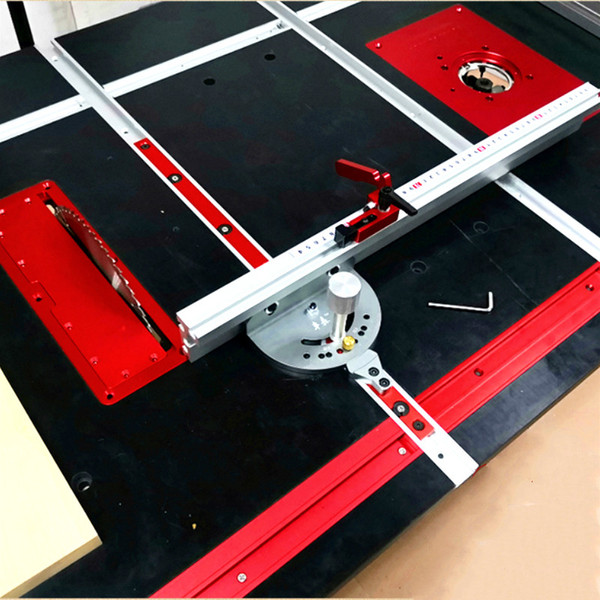 best selling Cheap Gauges WoodWorking Tool Miter Gauge and 400 600 800mm Alluminium Fence with Metric Scale,Saw Flip Cover Plate,Ruter Table Insert Plate