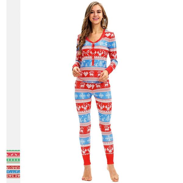 Explosion Mesdames Pyjama De Noël Élan Numérique Pyjama D'impression Set Slim Casual À Manches Longues Deux-pièces En Gros