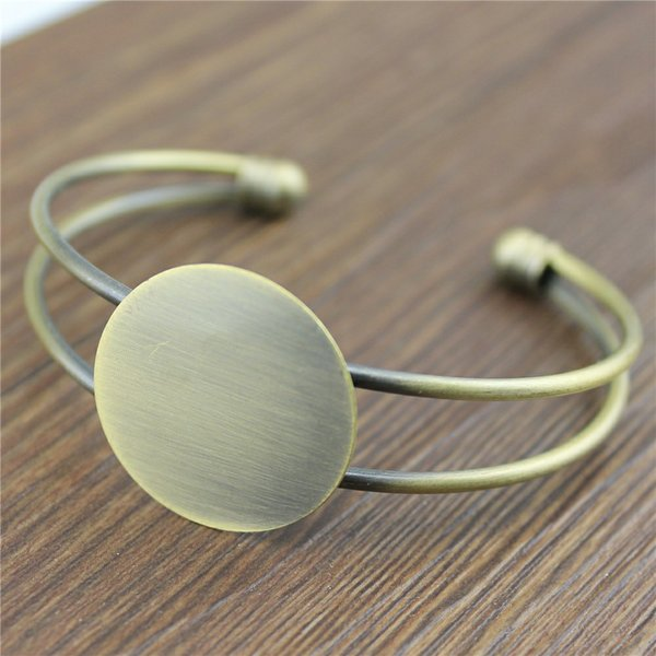 2 Colors 25mm Flat Bangle Setting Base Adjustable Bangle Base Blank Tray For Jewelry Making Jewelry Finding High Quality