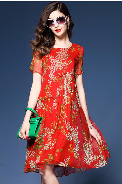 Moda-yeni yaz Avrupa Amerikan büyük boy kadın gevşek kısa kollu yuvarlak yaka çiçek ipek şifon elbise etek nokta