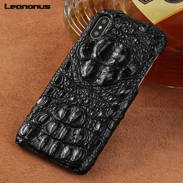 Genuine Crocodile Leather Case For iPhone XR X XS Max Case Cover Marvel High-end Shockproof Case for iPhone 7 8 6 Plus 6S Coque