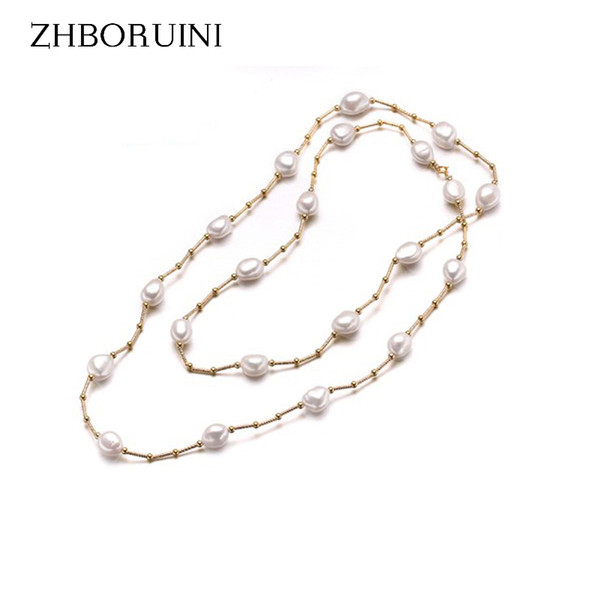 jewelry fashion ZHBORUINI High Quality Fashion Long Necklace Baroque Natural Freshwater Pearl Pearl Jewelry For Women Necklace Accessories